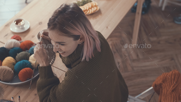 Knitting woman - Stock Photo - Images