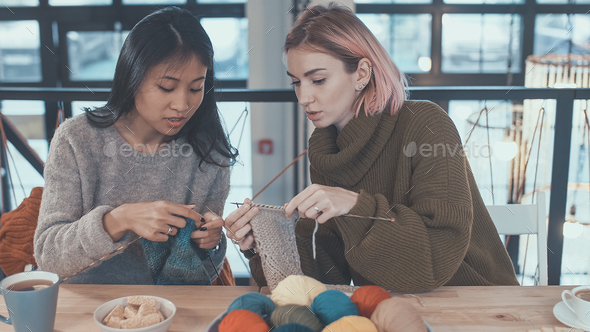Teaching knitting - Stock Photo - Images