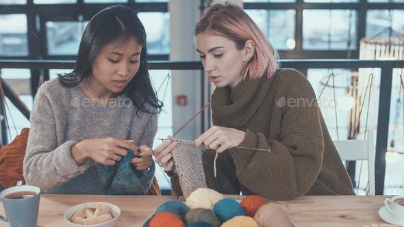 Teaching knitting - Stock Photo - Images