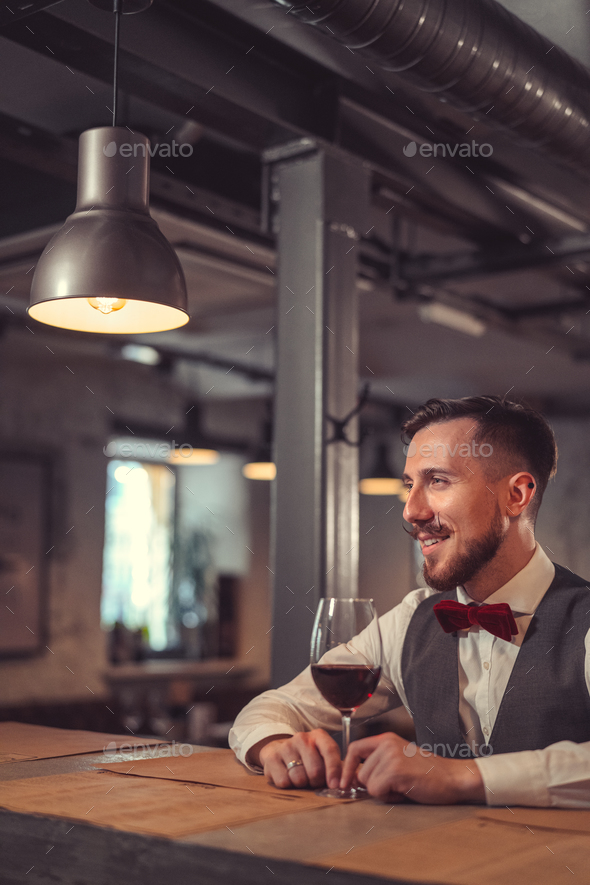Smiling sommelier - Stock Photo - Images