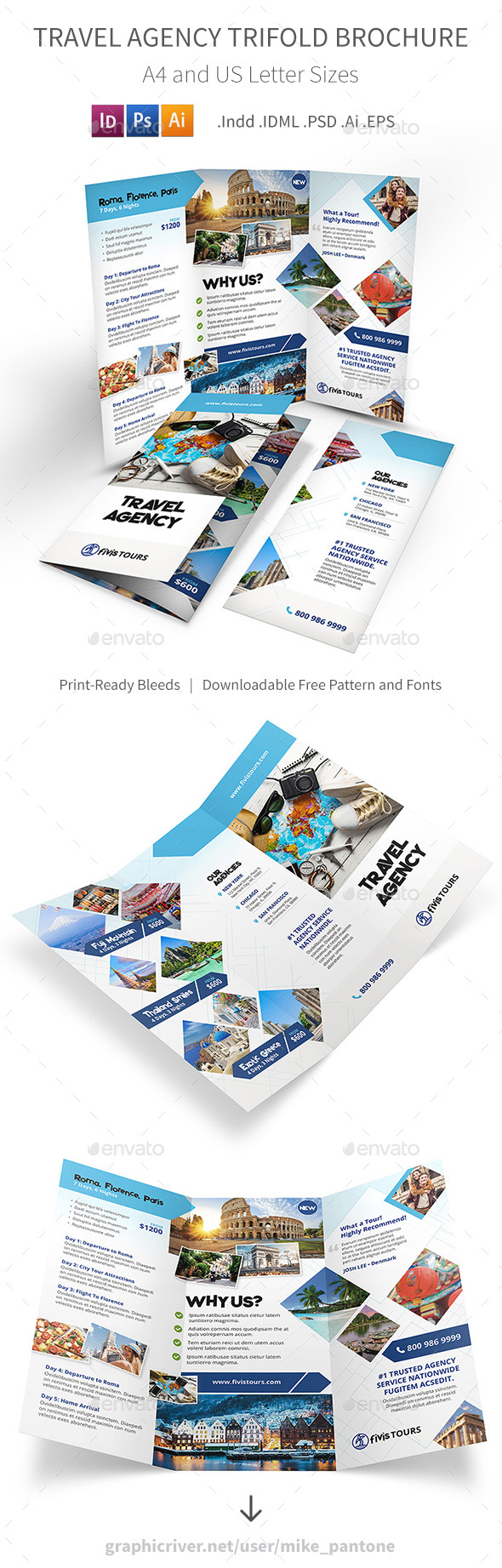 Travel Agency Trifold Brochure 3 - Informational Brochures