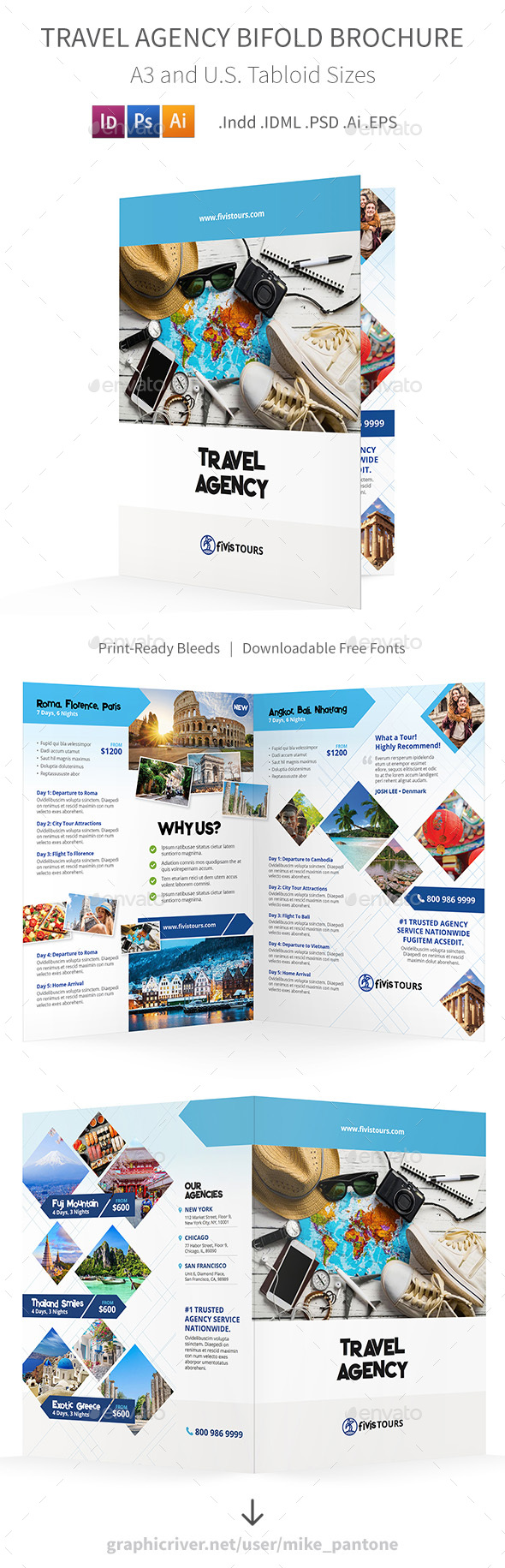 Travel Agency Bifold / Halffold Brochure 3 - Informational Brochures