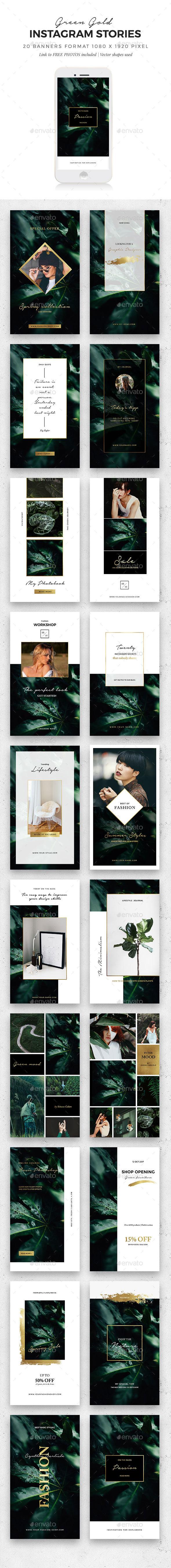 Instagram Stories Green/Gold - Social Media Web Elements