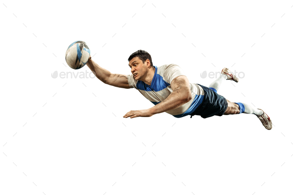 The silhouette of one caucasian rugby man player isolated on white background - Stock Photo - Images