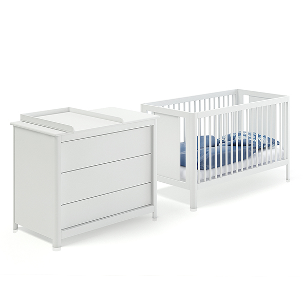 Baby Bed and White Cabinet - 3DOcean Item for Sale