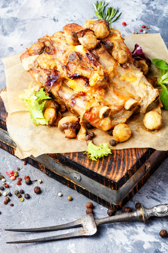 Baked meat with mushrooms - Stock Photo - Images