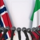 Flags of Norway and Italy at International Press Conference - VideoHive Item for Sale