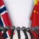 Flags of Norway and China at International Press Conference - VideoHive Item for Sale