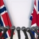 Flags of Norway and The United Kingdom at International Press Conference - VideoHive Item for Sale