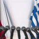 Flags of Poland and Greece at International Press Conference - VideoHive Item for Sale