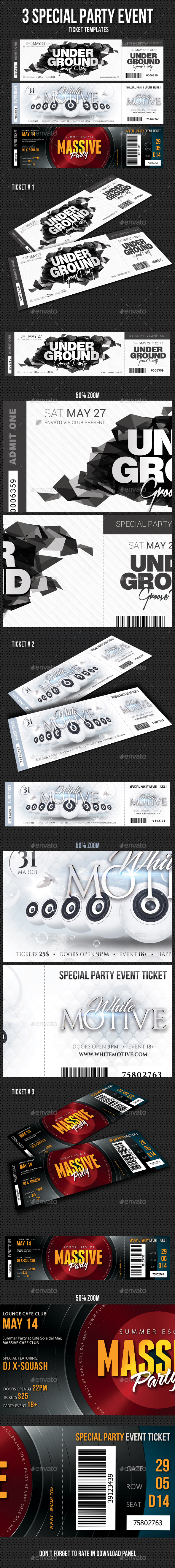 3 in 1 Special Party Event Ticket Bundle V05 - Cards & Invites Print Templates