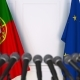 Flags of Portugal and the European Union at International Press Conference - VideoHive Item for Sale