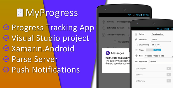 MyProgress, Progress Tracking App (Visual Studio project for Xamarin.Android with Parse Server) - CodeCanyon Item for Sale