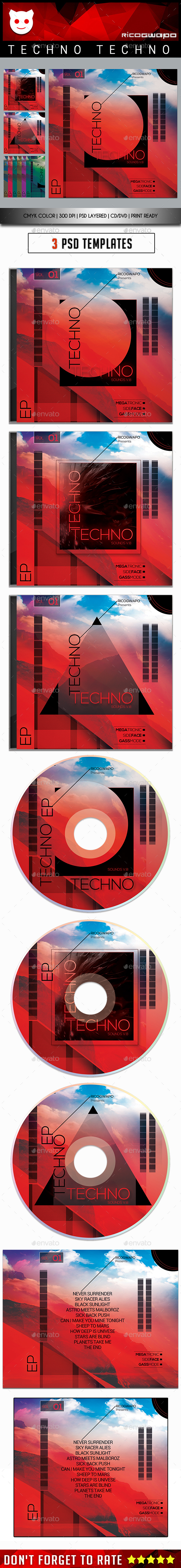 Techno Techno Cd/DVD Template - CD & DVD Artwork Print Templates
