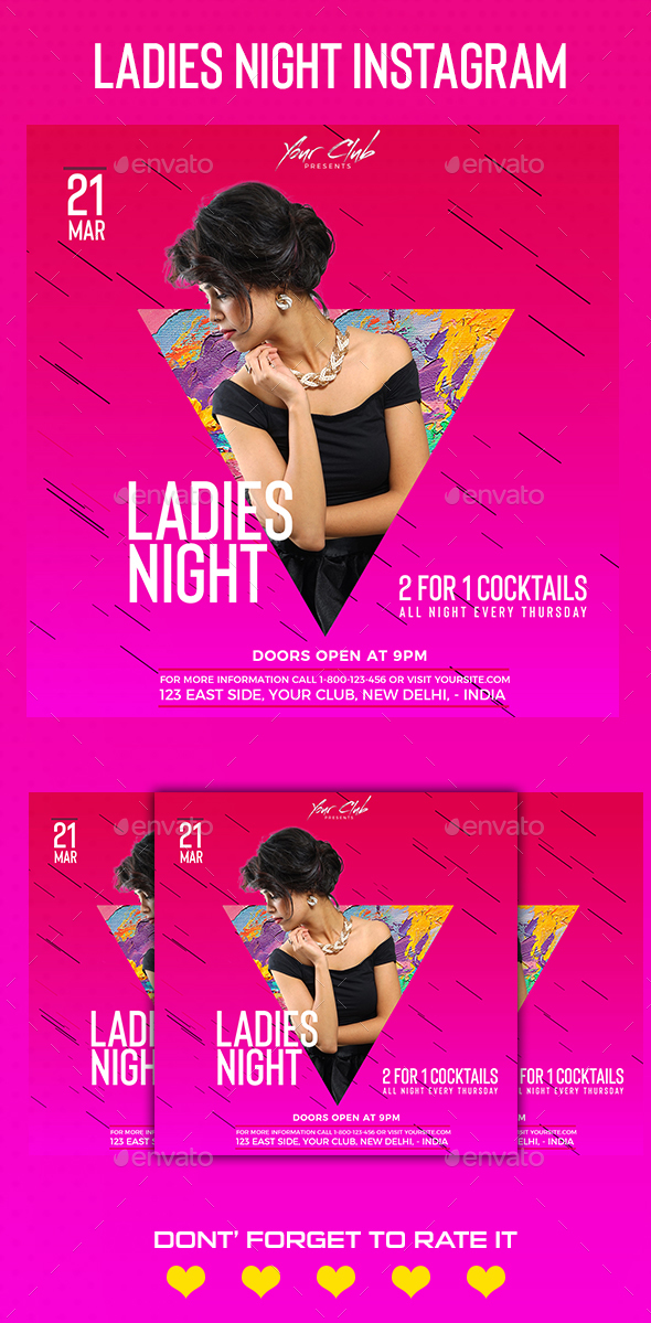 Ladies Night Instagram Banner - Social Media Web Elements