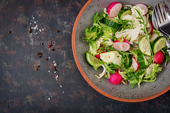 Mix salad from fresh vegetables and greens herbs.  - Stock Photo - Images