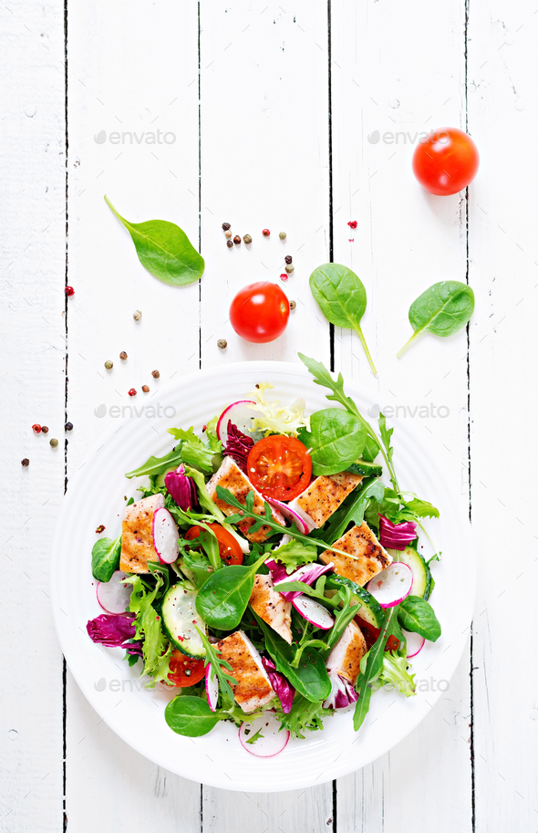 Fresh vegetable salad with grilled chicken breast - Stock Photo - Images