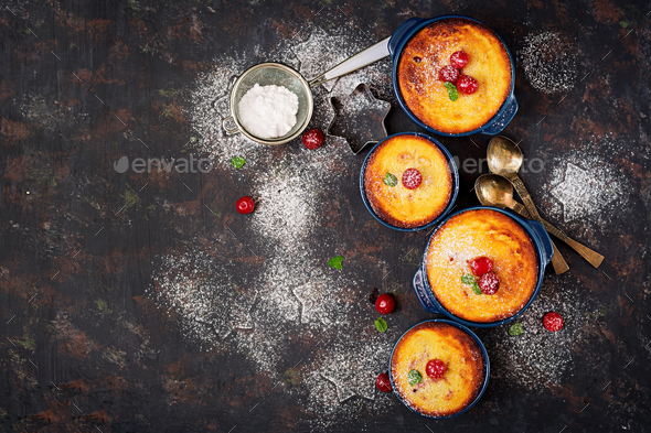 Cottage cheese casserole with cherries. Flat lay. Top view. - Stock Photo - Images