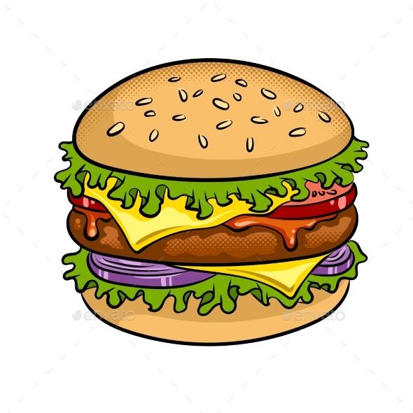Burger Sandwich Pop Art Vector Illustration - Food Objects