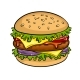 Burger Sandwich Pop Art Vector Illustration - GraphicRiver Item for Sale