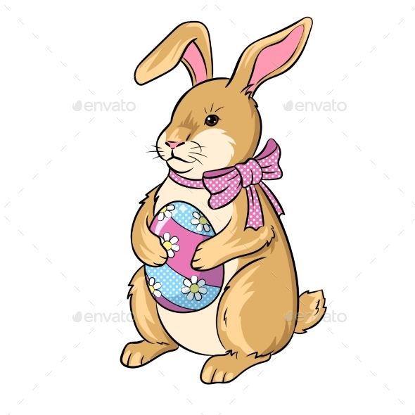 Easter Bunny with Egg Pop Art Vector Illustration - Animals Characters