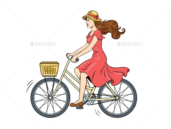 Young Woman Rides on Bicycle Pop Art Vector - People Characters