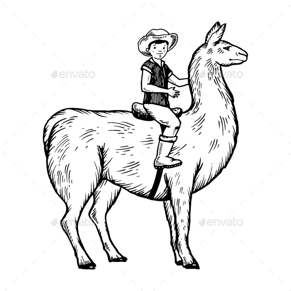 Child Rides on Llama Engraving Vector - People Characters
