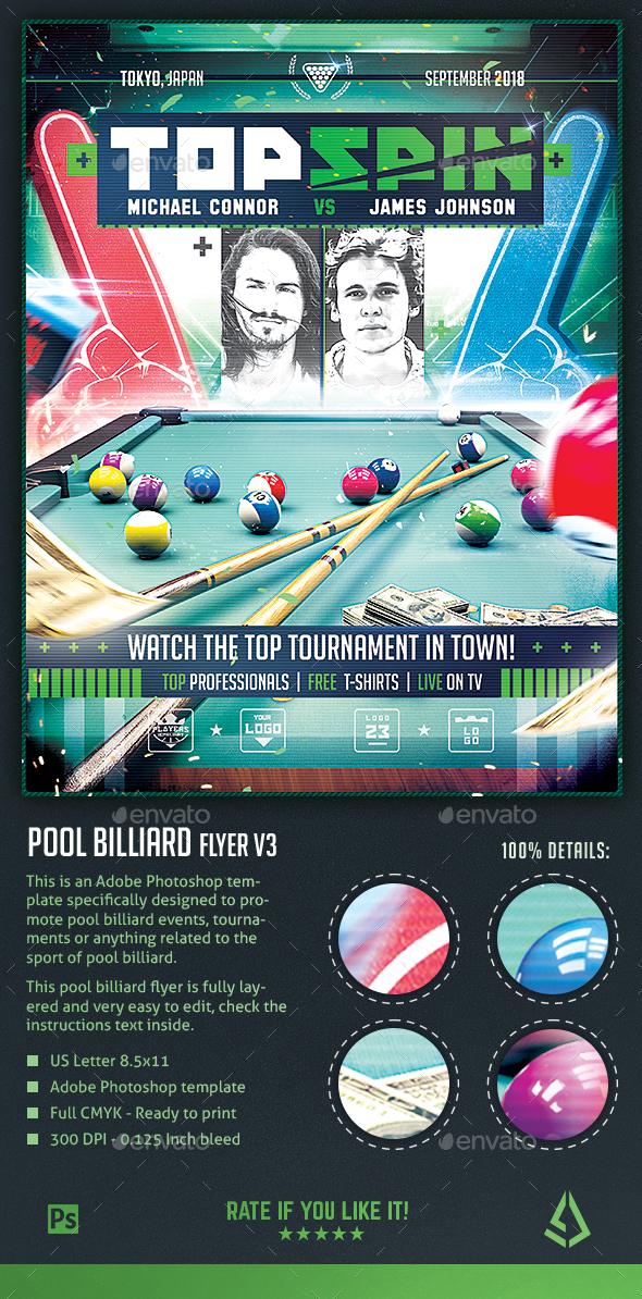 Pool Billiard Flyer - 8-Ball Pool Club Template - Sports Events