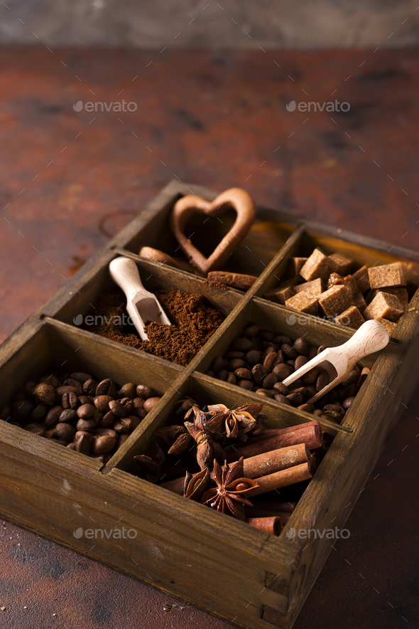 Spices, coffee and cookies in wooden box - Stock Photo - Images