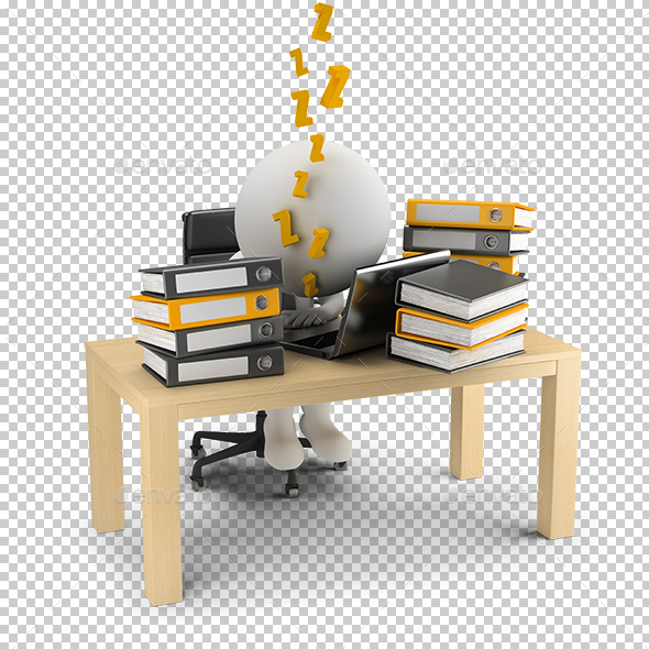 3D Small People - Sleeps in the Workplace - Characters 3D Renders