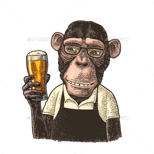 Monkeys Dressed in Apron Holding Glass of Beer - Animals Characters