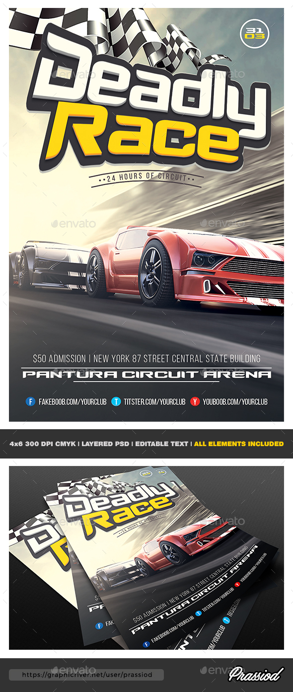 Deadly Race Flyer Template - Miscellaneous Events