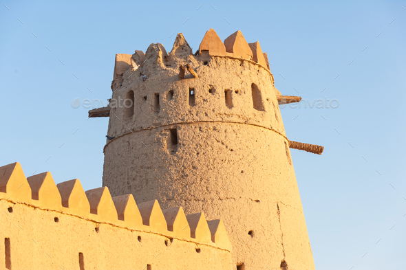 A Tower in Al Jahli Fort in Al Ain - Stock Photo - Images