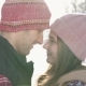 Man and Girl Couple Touching Their Heads in Winter Park, Sunny Day Snow - VideoHive Item for Sale
