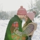 Man and Girl Couple Touching Their Heads in Winter Park, Sunny Day Snow, - VideoHive Item for Sale