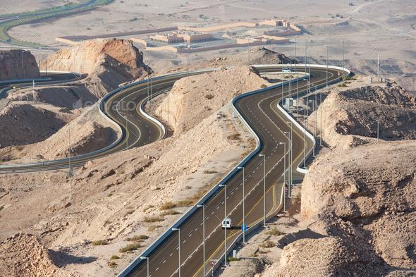 Jebel Hafeet Road in Al Ain - Stock Photo - Images