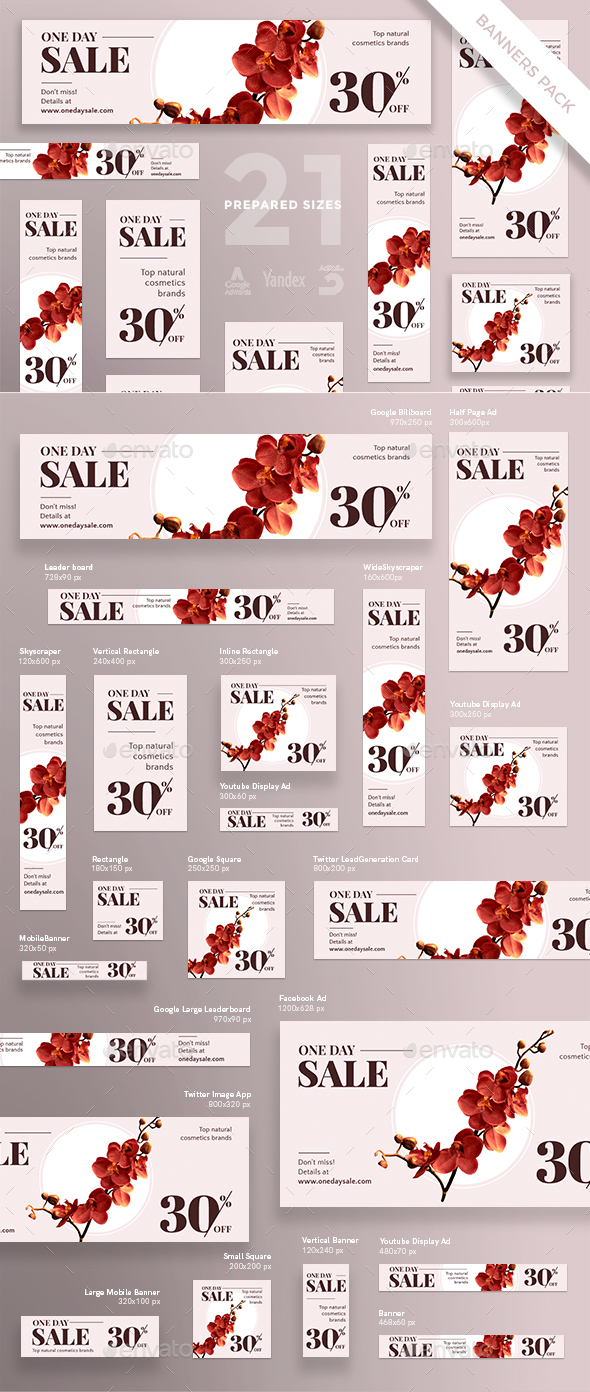 Natural Cosmetics Sales Banner Pack - Banners & Ads Web Elements