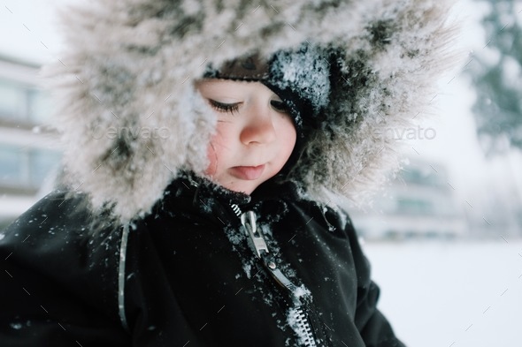 Young boy playing in snow with snowy hood - Stock Photo - Images