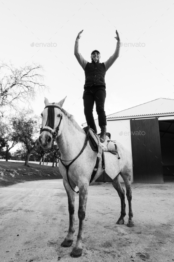 The happiest man with the happiest horse. - Stock Photo - Images