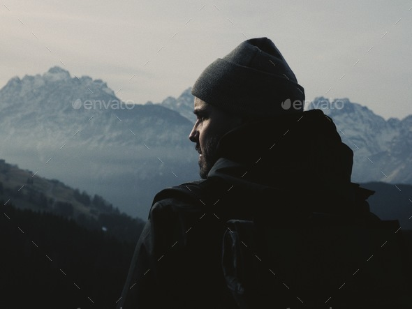 Man of the mountains. - Stock Photo - Images