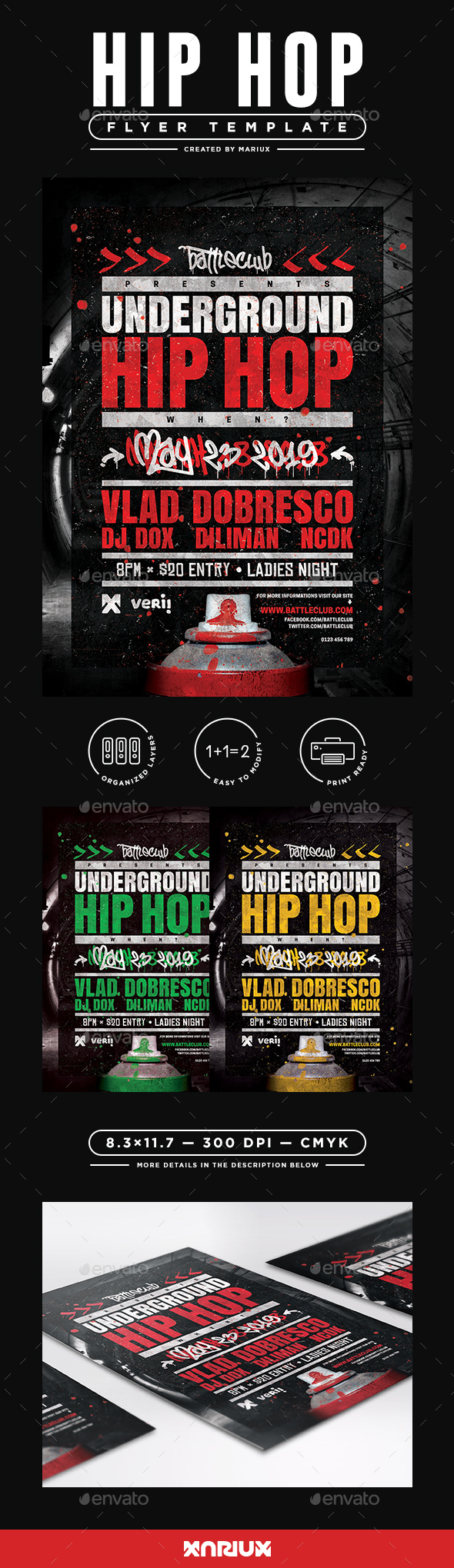 Underground Hip Hop Flyer/Poster - Clubs & Parties Events