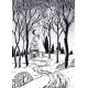 Wood Cabin in Winter Forest Landscape with a Road - GraphicRiver Item for Sale