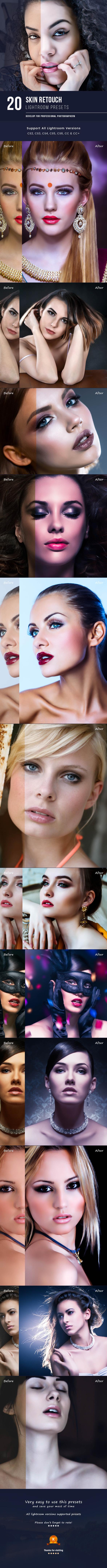 20 Skin Retouch Presets - Lightroom Presets Add-ons