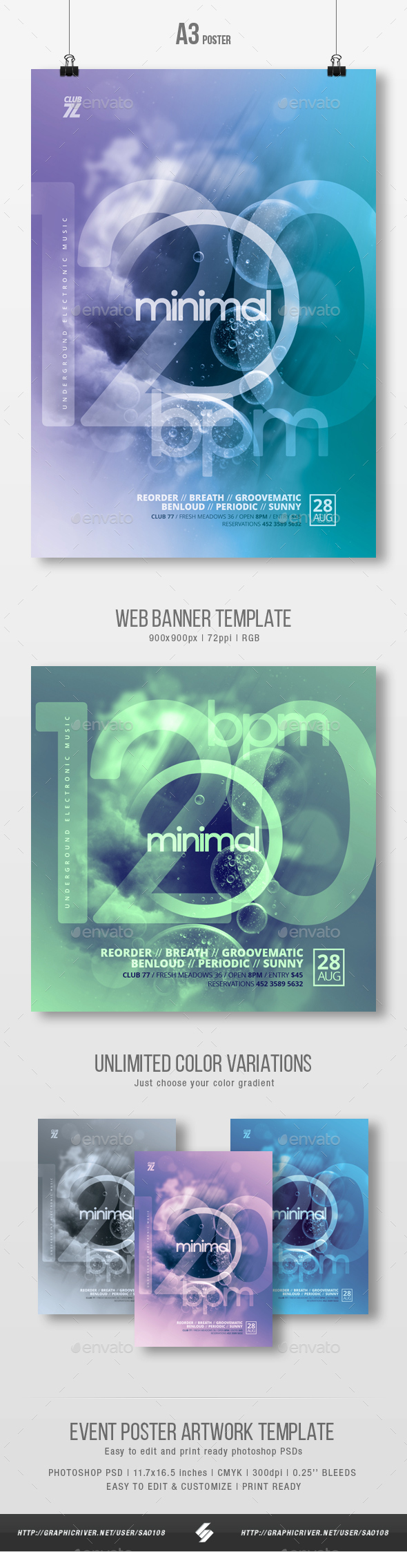 120 bpm - Minimal Party Flyer / Poster Template A3 - Clubs & Parties Events