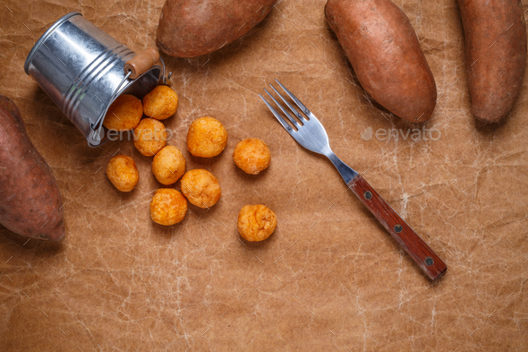 Mashed sweet potato and cheese balls - Stock Photo - Images