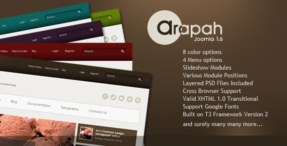 Arapah - Simple and Clean Joomla 1.5 & 1.7 - Retail Joomla