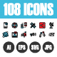 108 Pixel Perfect Icons Vol.1 - GraphicRiver Item for Sale