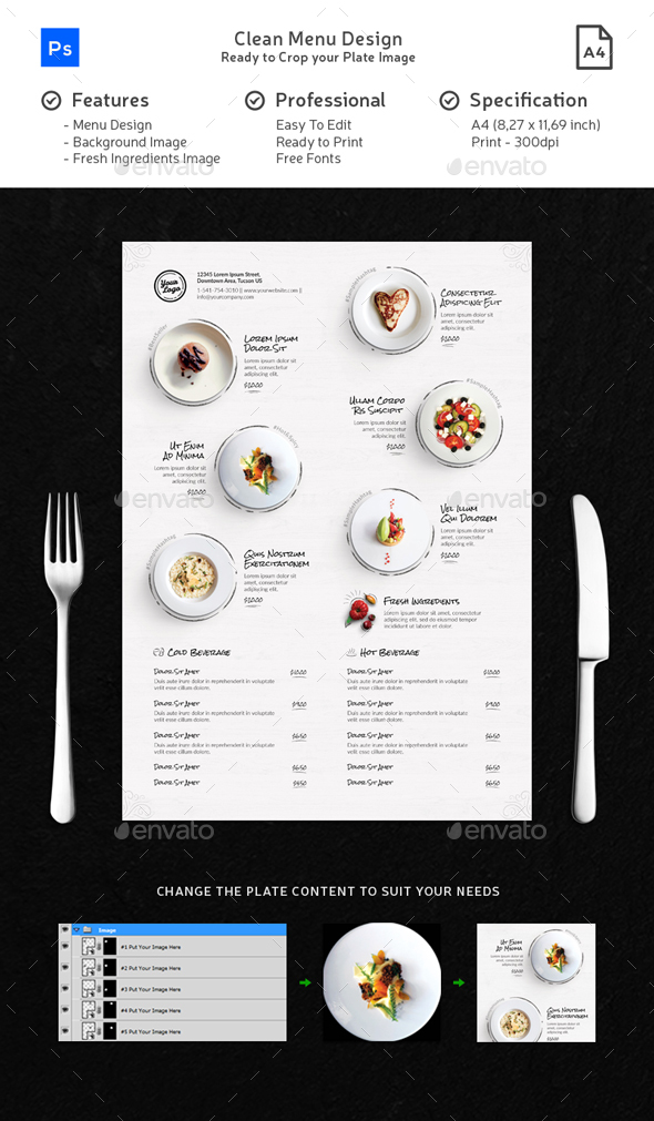 Clean Menu White Wood - Food Menus Print Templates