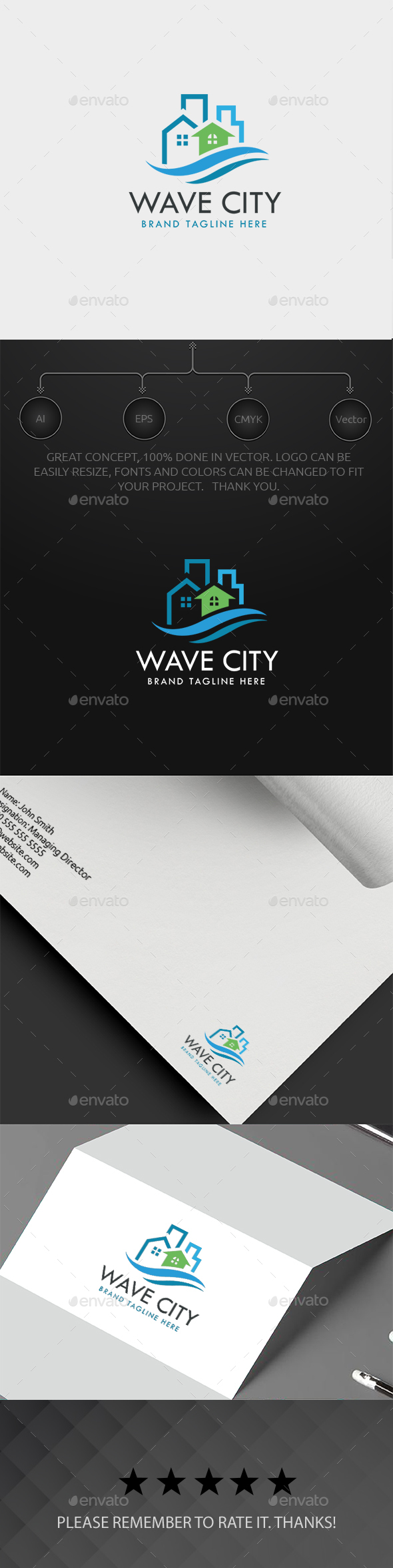 Wave Real Estate Logo - Buildings Logo Templates