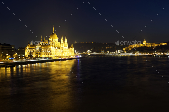 Cityscape of Budapest at night - Stock Photo - Images